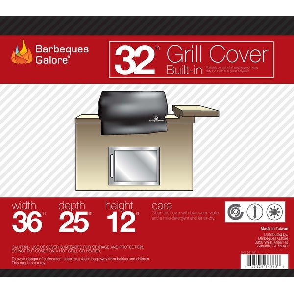"""Barbeques Galore 32"""" Grill Cover for Built-In Gas Grill"""