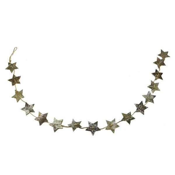 "60"" Brown Glittered Birch Bark Star Novelty Christmas Garland - Unlit"