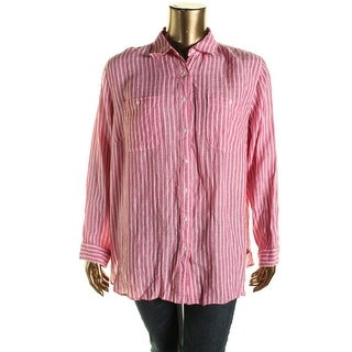 Lauren Ralph Lauren Womens Plus Linen Striped Blouse - 2X