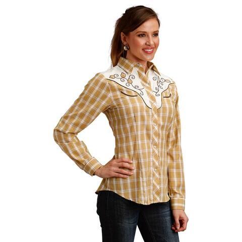 Roper Western Shirt Womens Long Sleeve Tan White