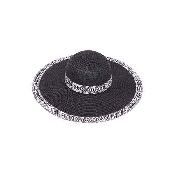 bf6b087e36a85e Shop Womens Wide Brim Straw Floppy Sun Hat w/ Houndstooth Band - Free  Shipping On Orders Over $45 - Overstock - 22809638