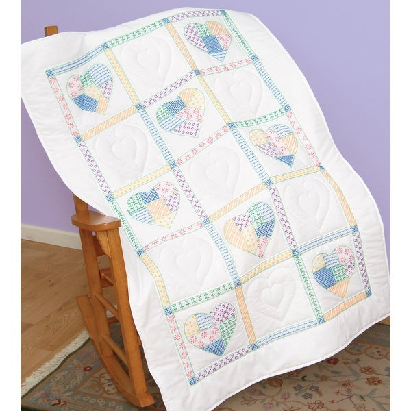 "Stamped White Lap Quilt Top 40""X60""-Patchwork Hearts"