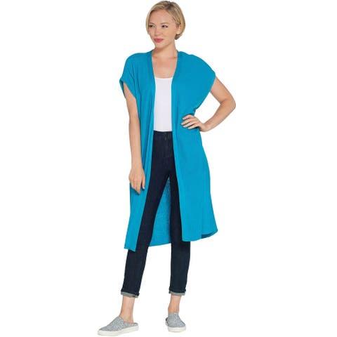 Martha Stewart Womens Mix Stitch Open Front Long Cardigan XXS Turquoise A309313