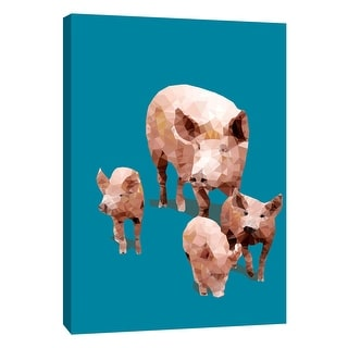 "PTM Images 9-109122  PTM Canvas Collection 10"" x 8"" - ""Fractal Pigs"" Giclee Pigs Art Print on Canvas"