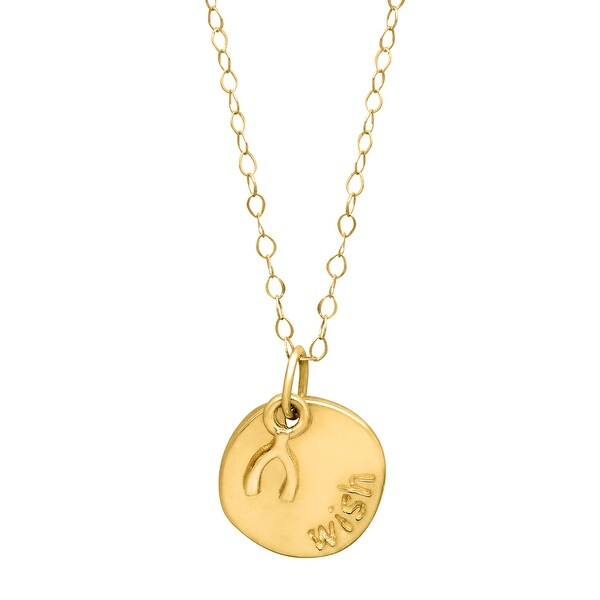 Just Gold Layered Circle & Wishbone Pendant in 14K Yellow Gold