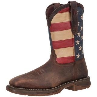 "Durango Western Boots Mens 11"" Flag ST Square Dark Brown DB020"