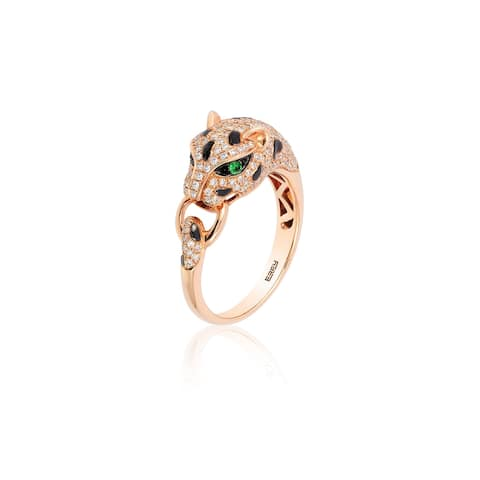 Effy Jewelry Diamond Panther Ring with Diamond and Tsavorite in 14K Rose Gold, 0.64 TWC Size- 7