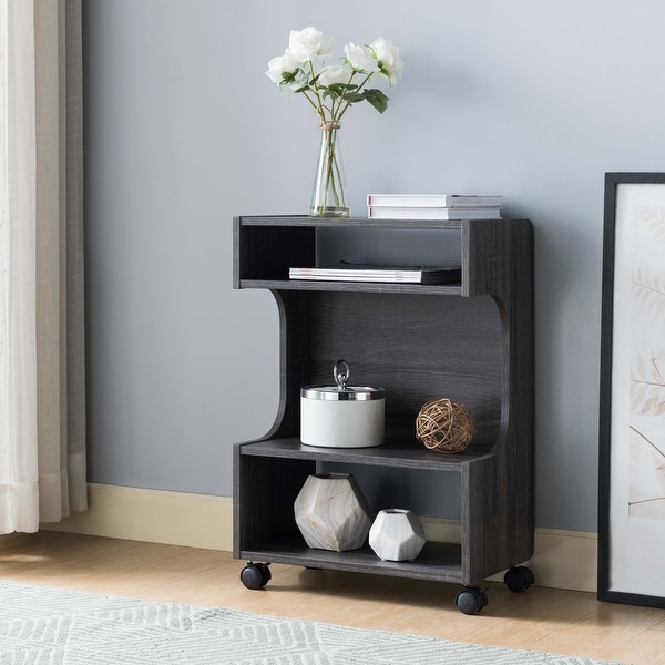Q-Max Four Shelfing Spaces Printer Stand Chairside Table with a Three Tier Display. Opens flyout.