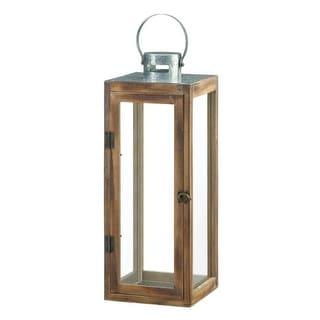 Large Metal Top Square Wood Lantern