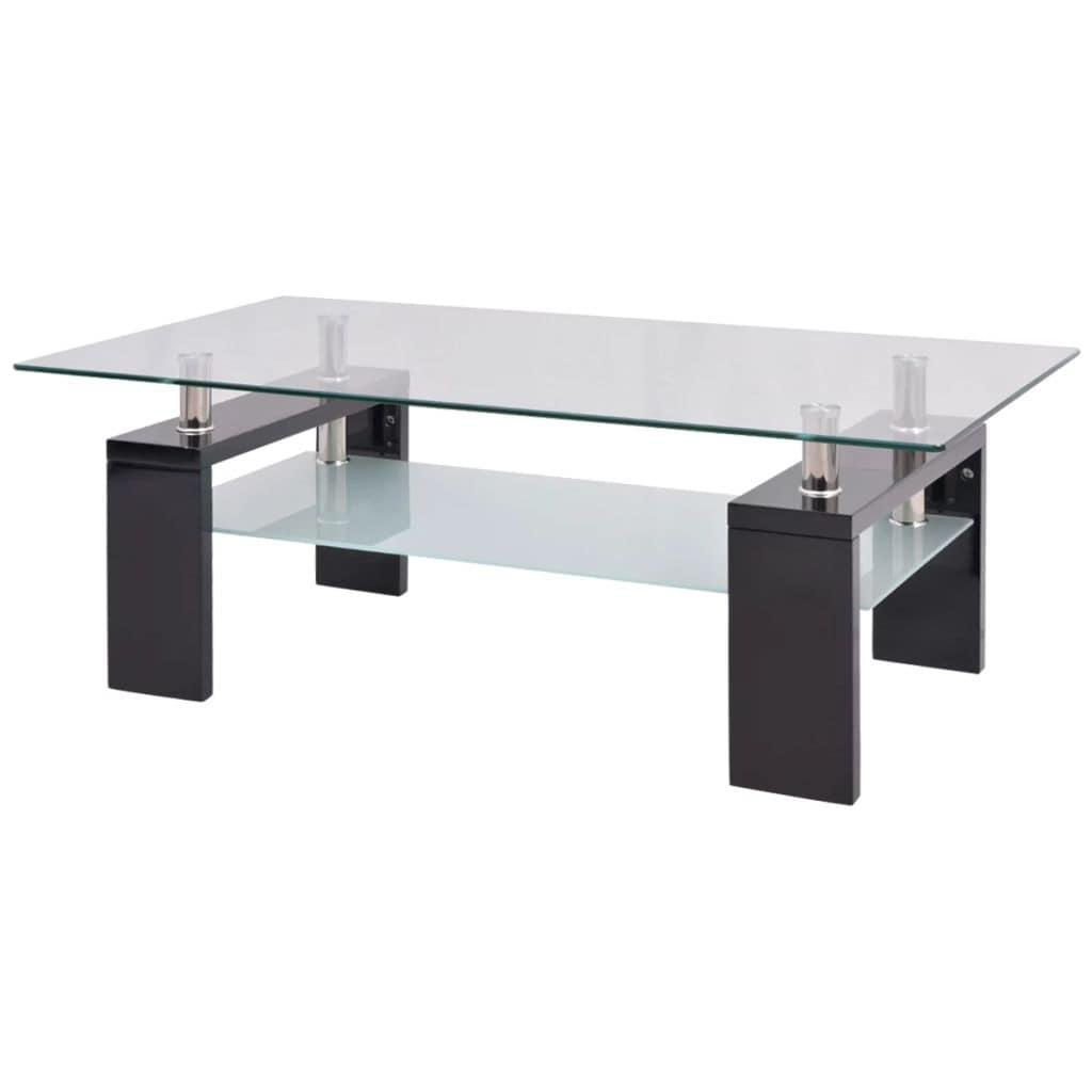 Vidaxl High Gloss Coffee Table With Shelf 43 3 X23 6 X15 7 Black