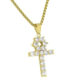 "Custom Iced Out Ankh Pendant Simulated Diamonds 18K Gold Finish Free Stainless Steel 24"" Necklace"