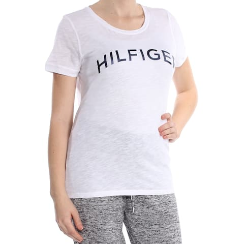 TOMMY HILFIGER Womens White Metallic Logo T Scoop Neck Top Size: L