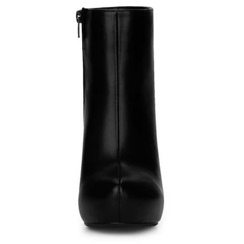 Allegra K Women's Platform Chunky Heel Ankle Boots