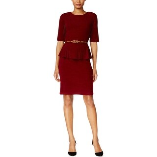 Connected Apparel Womens Petites Wear to Work Dress Ribbed Knit Peplum