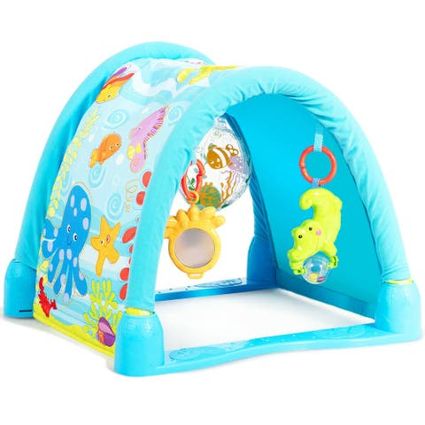 4-in-1 Baby Play Gym Mat with 3 Hanging Toys