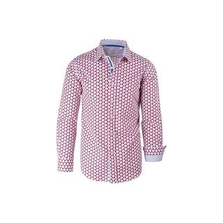 Red White and Blue Polka-Dot Pattern Modern Fit Sport Shirt by Tiglio Sport