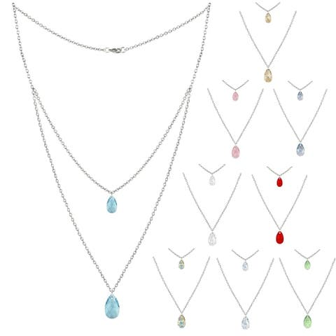Assorted Colors Double Crystal Teardrop Stainless Steel Chain Necklace