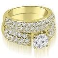 3.05 cttw. 14K Yellow Gold Three Row Round Cut Diamond Bridal Set - Thumbnail 0
