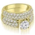 3.30 cttw. 14K Yellow Gold Three Row Round Cut Diamond Bridal Set - Thumbnail 0