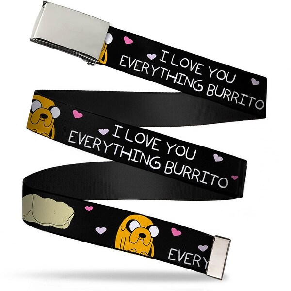 Blank Chrome Bo Buckle Jake I Love You Everything Burrito Black Pink Web Belt