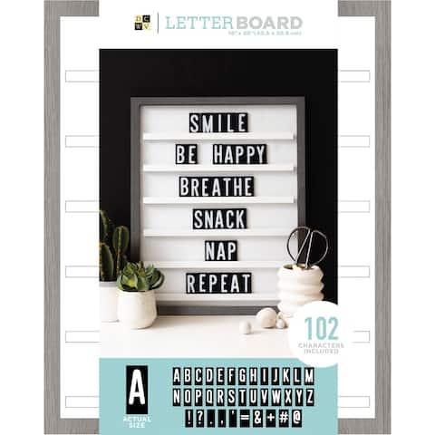 """Dcwv Sliding Letterboard 16""""X20""""-Grey Oak W/Black Tiles"""