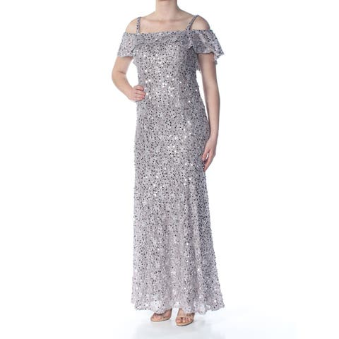 9c4fce247a1 NIGHTWAY Womens Silver Sequined Spaghetti Strap Off Shoulder Full-Length  Prom Dress Size  6
