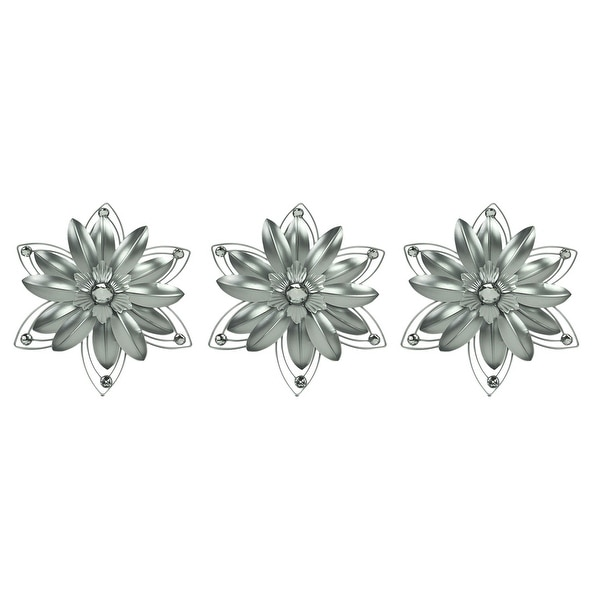 Jeweled 3D Metal Art Flower Wall Sculpture Set of 3. Opens flyout.