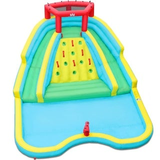 Link to Double Side Inflatable Water Slide Park with Climbing Wall - Multi Similar Items in Outdoor Play