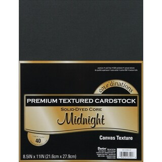 "Core'dinations Value Pack Canvas Cardstock 8.5""X11"" 40/Pkg-Midnight - Black"