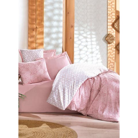 SUSSEXHOME Duvet Cover Set, 1 Duvet Cover, 1 Fitted Sheet and 2 Pillowcases Pink, Hypoallergenic