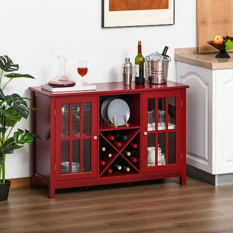 HOMCOM Serving Buffet Sideboard Cabinet with Open Storage, 12 Bottle Wine Rack, Framed Glass Doors and 2 Cabinets