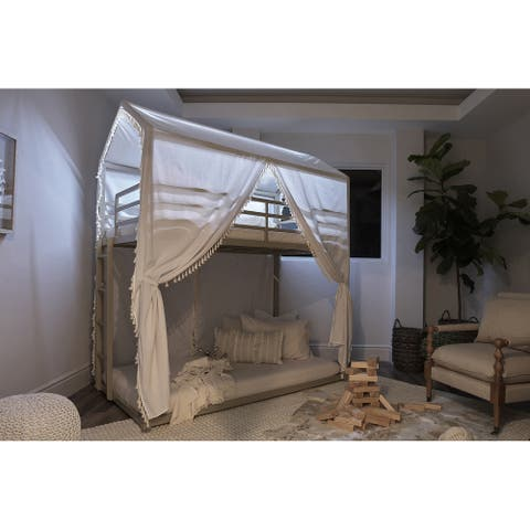 Taylor & Olive Aprikola Champagne Twin-over-Twin Bunk Bed with Canopy