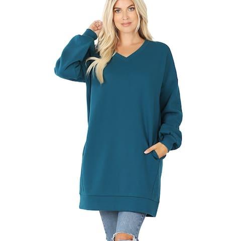 JED Women's Oversized V-Neck Long Sleeve Pull-Over Tunic Sweatshirt