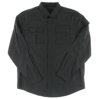 Sean John Mens Button-Down Shirt Pocketed Adjustable Sleeve