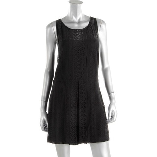 Rebecca Minkoff Womens Marriane Lace Faux Leather Trim Romper - 12