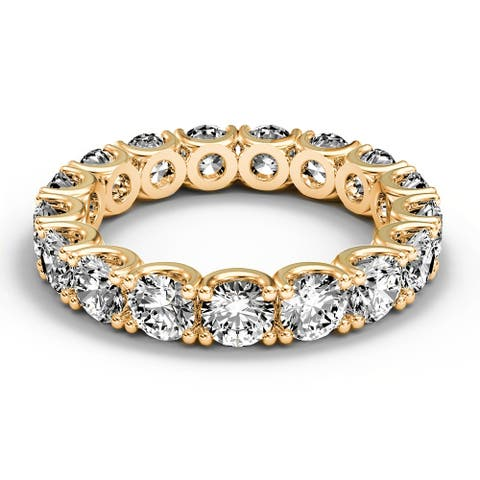 14K Yellow Gold 2.70 CT Round Fishtail Diamond Eternity Wedding Ring