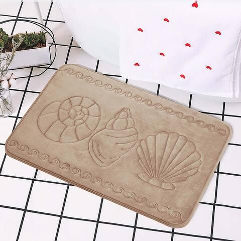 Nautical Pattern Cotton Candy Soft Non-Slip Memory Foam Bath Rug