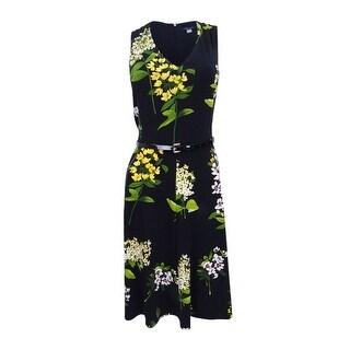 Tommy Hilfiger Women's Belted Floral-Print A-Line Dress - Black Multi