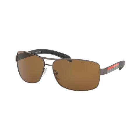 Prada Linea Rossa PS 54IS 5AV5Y1 65 Gunmetal Man Rectangle Sunglasses