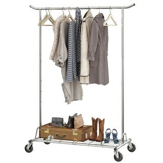 LANGRIA Heavy Duty Rolling Commercial Single Rail Clothing Garment Rack with Wheels Height Adjustable (Chrome)