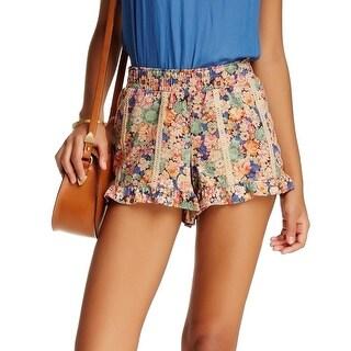 Jolt NEW Beige Size XL Junior Floral Print Faux-Suede Lace Trim Shorts
