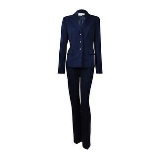 Le Suit Women's Notch Lapel Three Button Woven Pant Suit - 4