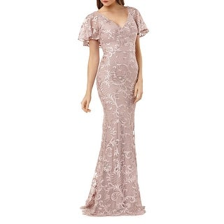 Link to Carmen Marc Valo Womens Evening Dress Lace Embroidered - Pink Similar Items in Dresses