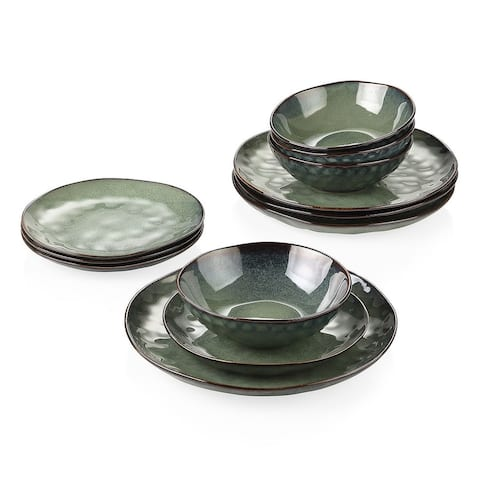 vancasso Starry Flambe Glaze Vintage Stoneware Dinnerware (Set of 12)