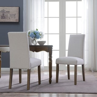 Belleze Classic Parson Dining Chair Chair Linen Fabric Solid Wood Legs (Set of 2), Beige