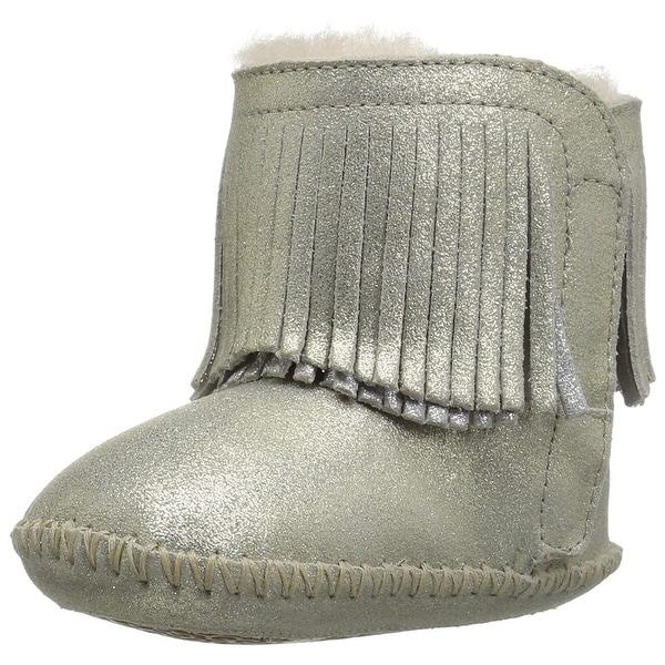 a2132b58940 Shop Kids Ugg Girls Branyon Fringe Ankle Slip On Snow Boots - Ships ...