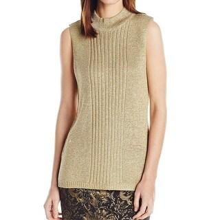 Calvin Klein Gold Women's Size Medium M Shimmer Mock Neck Sweater