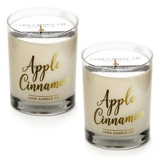 Apple Cinnamon Candle, Natural Soy Wax, Holiday Gift (2 Pack)