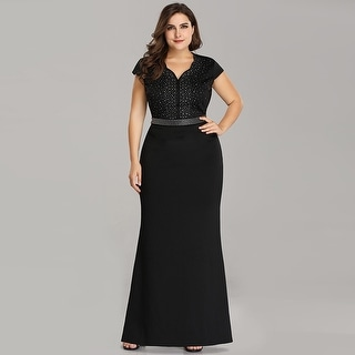 Ever-Pretty Women\'s Plus Size Bodycon Cap Sleeve Beaded Black Evening Party  Dress 07623   Overstock.com Shopping - The Best Deals on Evening & Formal  ...