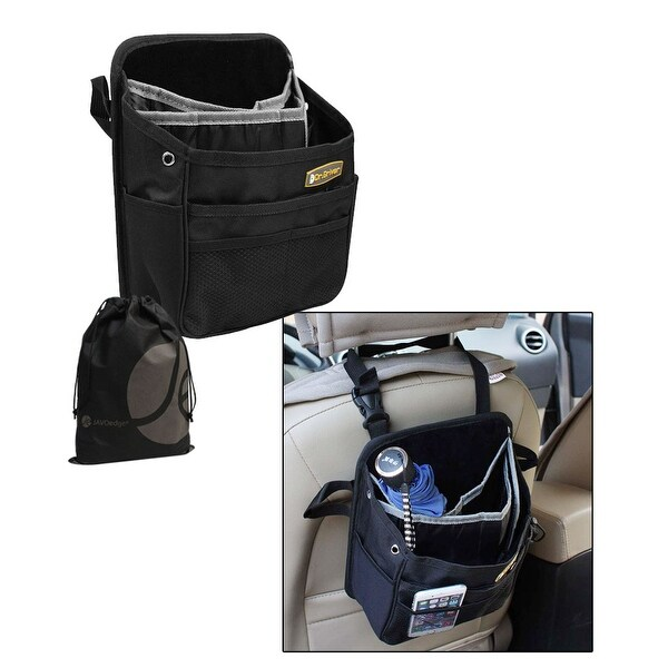 JAVOedge Back Seat Hanging Storage Bag with Multiple Slots, Pockets for Roadtrips, Umbrella, Organization - Black